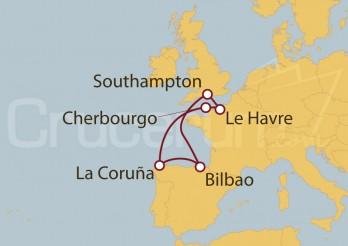 Crucero España y Francia desde Cherbourgo