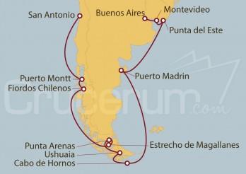 Crucero Buenos Aires (Argentina), Uruguay, Chile