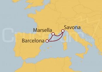Crucero Minicrucero 5 días: Barcelona, Marsella y Savona