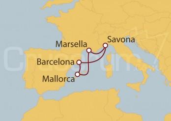 Crucero España, Islas Baleares, Francia, Italia I