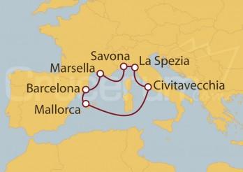 Crucero Italia, Islas Baleares, España, Francia