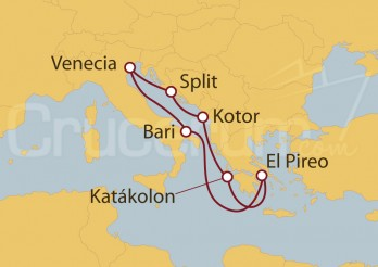 Crucero Italia, Grecia, Montenegro y Croacia