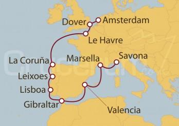 Crucero Holanda, Gran Bretaña, Francia, España, Portugal, Gibraltar, Italia I