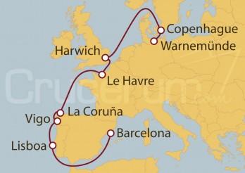 Crucero Alemania, Dinamarca, Gran Bretaña, Francia, España, Portugal
