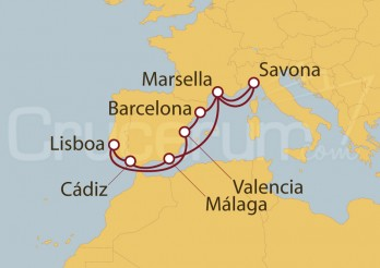 Crucero España, Francia, Italia, Portugal