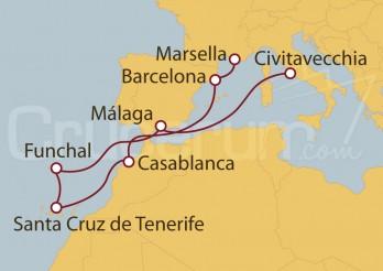 Crucero Francia, España, Marruecos, Portugal, Italia