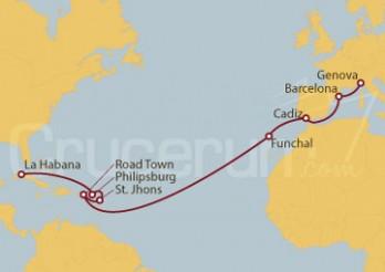 Crucero Cuba, St. Maarten, Antigua y Barbuda, Islas Vírgenes (Británicas), Portugal, España, Italia