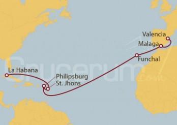 Crucero España, Portugal, St. Maarten, Antigua y Barbuda, Cuba