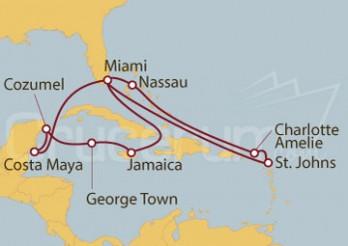Crucero Estados Unidos, Bahamas, Islas Vírgenes, Jamaica, Islas Caimán y México