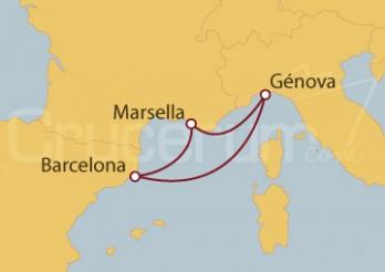 Crucero MiniCrucero 4 días: Barcelona, Marsella y Génova