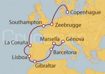 Crucero Dinamarca, Bélgica, UK, Portugal, España, Francia, Italia