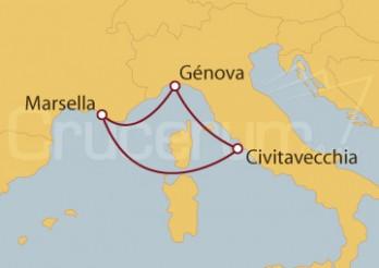 Crucero Génova (Italia), Civitavecchia (Roma) y Marsella (Francia)