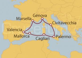 Crucero Génova (Italia), Palma de Mallorca y Francia