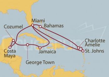 Crucero Miami (EEUU), George Town (Islas Caimán), Charlotte Amalie (Islas Vírgenes)