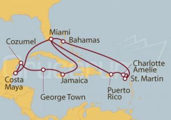 Crucero Estados Unidos, Puerto Rico, Islas Vírgenes (Estadounidenses), St. Maarten, Bahamas, Jamaica, Gran Caimán