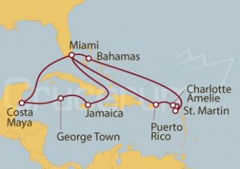 Crucero Estados Unidos, Puerto Rico, Islas Vírgenes), St. Maarten, Bahamas y Jamaica
