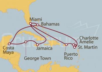 Crucero Estados Unidos, Jamaica, Gran Caimán, México, Bahamas, Puerto Rico e Islas Vírgenes (Estadounidenses)