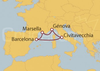 Crucero Génova (Italia), Marsella, Barcelona y Civitavecchia (Roma)