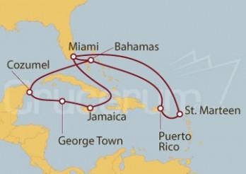 Crucero Miami (EEUU), Jamaica, Gran Caimán, México, Bahamas, St. Maarten, Puerto Rico
