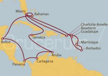 Crucero Miami (EEUU), Jamaica, Aruba, Colombia, Panamá, Belice, Bahamas, Islas Vírgenes, Martinica,  Barbados, Guadalupe