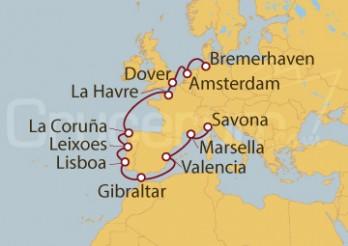Crucero Alemania, Holanda, Gran Bretaña, Francia, España, Portugal, Gibraltar, Italia
