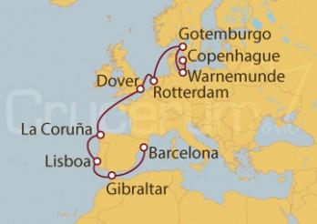 Crucero Dinamarca, Alemania, Suecia, Holanda, Reino Unido, España, Portugal, Gibraltar