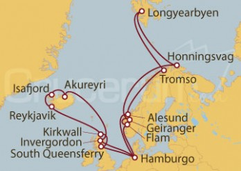 Crucero Hamburgo (Alemania), Noruega, Islas Svalbard y Jan Mayen, Reino Unido e Islandia