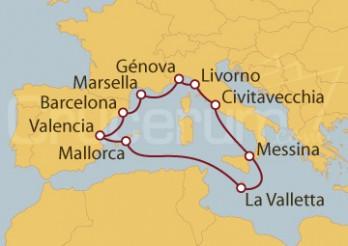 Crucero Marsella (Francia), España, La Valletta e Italia