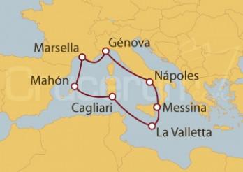 Crucero Nápoles (Italia), Francia, España y La Valletta
