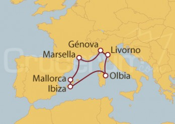 Crucero Livorno (Italia), Francia( Marsella) y Baleares (España)