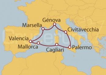 Crucero Marsella (Francia), Italia y España