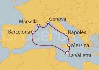 Crucero Nápoles (Italia), La Valletta, Barcelona, Marsella y Génova
