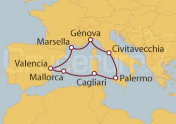 Crucero Cagliari (Italia), España y Francia