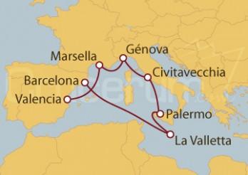 Crucero Valencia, Marsella, Italia y Malta