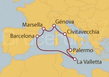 Crucero Palermo (Italia), La Valletta, Barcelona y Marsella