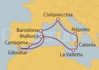 Crucero Civitavecchia (Roma), Nápoles, Sicilia, Malta, Palma de Mallorca, España, Gilbraltar, Barcelona