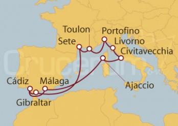 Crucero Civitavecchia (Roma), Córcega, Málaga, Sevilla, Gibraltar, Francia, Italia