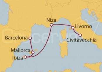 Crucero Civitavecchia (Roma), Florencia, Niza, Ibiza, Palma de Mallorca, Barcelona