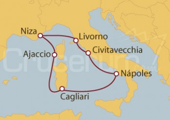 Crucero Civitavecchia (Roma), Florencia, Niza, Córcega, Cerdeña, Nápoles