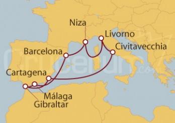 Crucero Civitavecchia (Roma), Gibraltar, España, Niza y Florencia