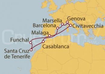 Crucero Marsella (Francia), Islas Canarias, Funchal, Casablanca y Civitavecchia (Roma)