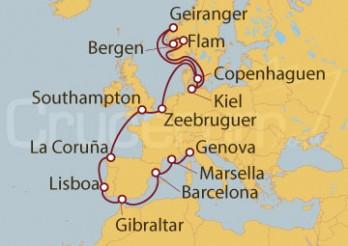 Crucero Atlántico y Mediterráneo: Desde Kiel (Alemania) hasta Génova