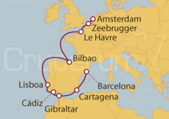 Crucero Amsterdam (Holanda), Bélgica, Francia, Bilbao, Portugal, España, Barcelona