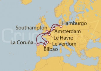 Crucero Hamburgo (Alemania), Reino Unido, Francia, España y Holanda