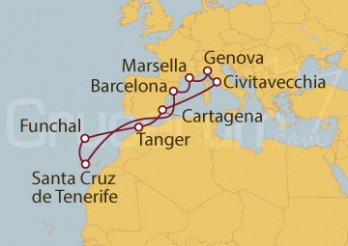 Crucero Génova (Italia), Marsella, Islas Canarias (España), Funchal (Portugal) y Marruecos
