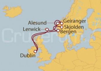 Crucero Dublín (Irlanda), Bergen, Skjolden, Geiranger, Alesund, Noruega,  Escocia