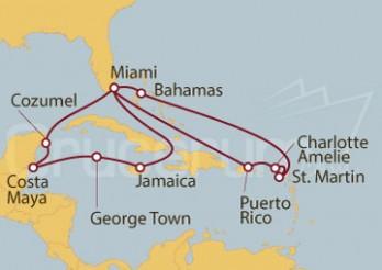 Crucero Miami (EEUU), Jamaica, Gran Caimán, México, Puerto Rico, Islas Vírgenes, St. Marteen, Bahamas
