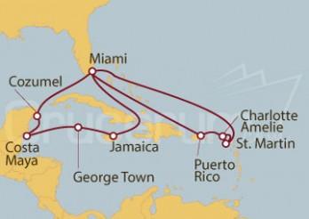 Crucero Estados Unidos, Jamaica, Gran Caimán, México, Puerto Rico, Islas Vírgenes (Estadounidenses), St. Maa