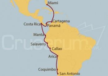 Crucero Chile, Perú, Ecuador, Costa Rica, Canal de Panamá, Colombia y Miami (EEUU)