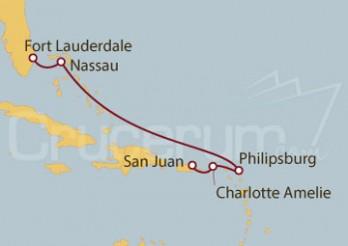 Crucero Fort Lauderdale (EEUU), Bahamas, St.Marteen, Islas Vírgenes, San Juan (Puerto Rico)